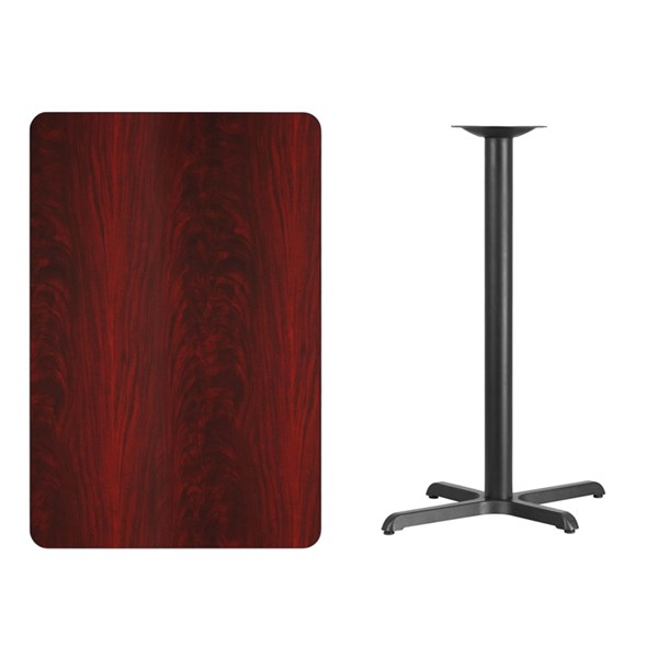 30 x 45 Mahogany Laminate Table Top w/22 x 30 Bar Height Table Base FLF-XU-MAHTB-3045-T2230B-GG