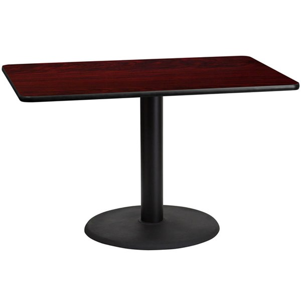 Flash Furniture 30X48 Mahogany Laminate Table Top with 24 Inch Round Table Base FLF-XU-MAHTB-3048-TR24-GG