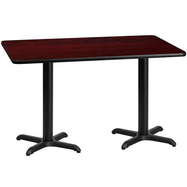 Flash Furniture 30 X 60 Mahogany Laminate Table Top with 22 X 22 Table Bases FLF-XU-MAHTB-3060-T2222-GG
