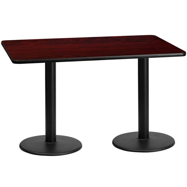 Flash Furniture 30X60 Mahogany Laminate Table Top with 18 Inch Round Table Bases FLF-XU-MAHTB-3060-TR18-GG