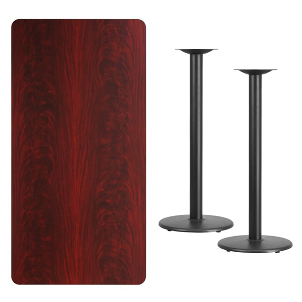 30x60 Mahogany Laminate Table Top W/18 Inch Round Bar Height Base FLF-XU-MAHTB-3060-TR18B-GG