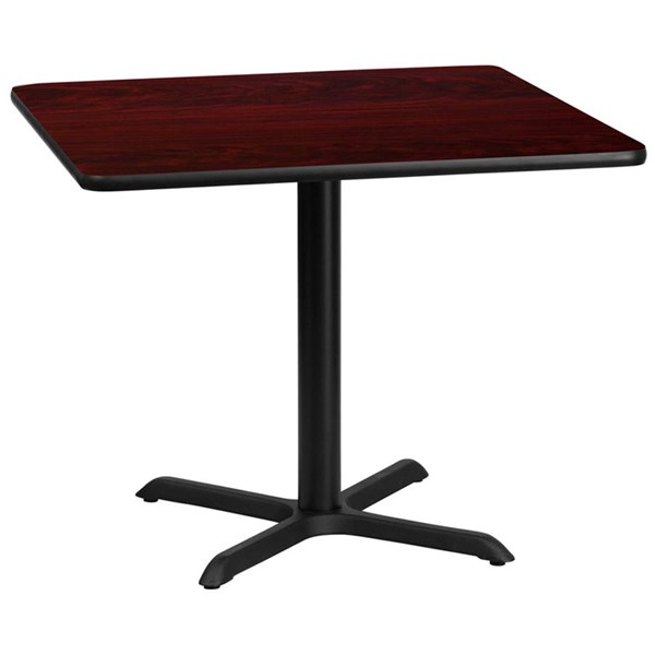 36 Inch Square Mahogany Laminate Table Top w/30 x 30 Table Height Base FLF-XU-MAHTB-3636-T3030-GG