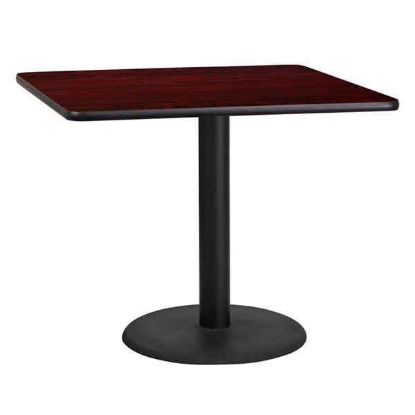 Flash Furniture 36 Inch Mahogany Laminate Table Top with Table Height Base FLF-XU-MAHTB-3636-TR24-GG