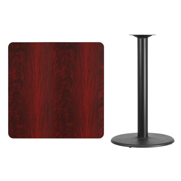 36 Inch Square Mahogany Laminate Table Top w/24 Inch Round Bar H Base FLF-XU-MAHTB-3636-TR24B-GG