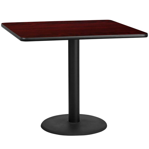 42 Inch Square Mahogany Table Top W/24 Inch Round Table Height Base FLF-XU-MAHTB-4242-TR24-GG
