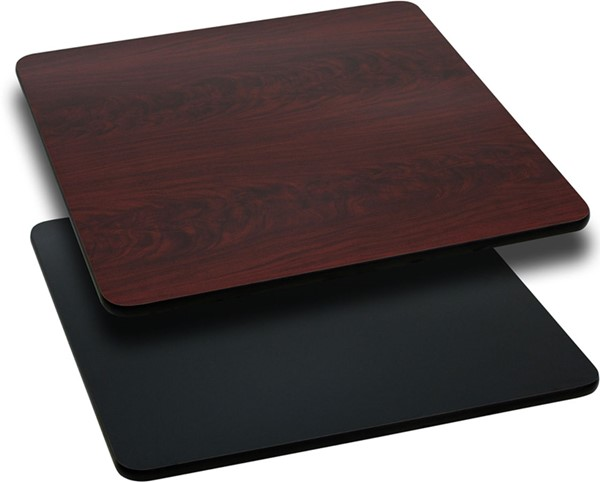 24 Inch Square Table Top W/Black Or Mahogany Reversible Laminate Top FLF-XU-MBT-2424-GG