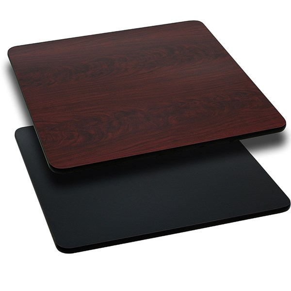 Flash Furniture 42 Inch Square Black Mahogany Reversible Laminate Table Top FLF-XU-MBT-4242-GG
