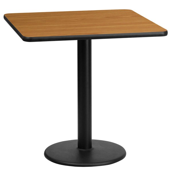 Flash Furniture 24 Inch Square Natural Table Top with 18 Inch Round Table Height Base FLF-XU-NATTB-2424-TR18-GG