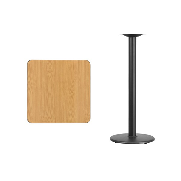 24 Inch Square Natural Table Top W/18 Inch Round Bar Height Base FLF-XU-NATTB-2424-TR18B-GG