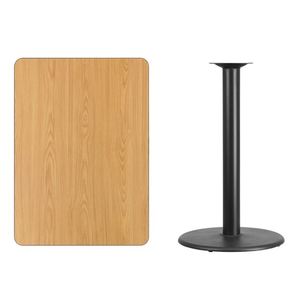 30x42 Natural Laminate Table Top W/24 Inch Round Bar Height Table Base FLF-XU-NATTB-3042-TR24B-GG