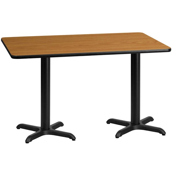 Flash Furniture 30 X 60 Natural Laminate Table Top with 22 X 22 Table Bases FLF-XU-NATTB-3060-T2222-GG