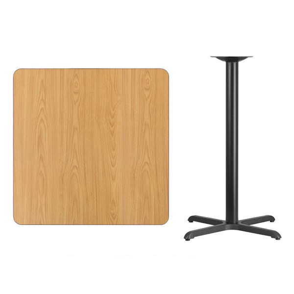 36 Inch Square Natural Table Top W/30x30 Bar Height Table Base FLF-XU-NATTB-3636-T3030B-GG