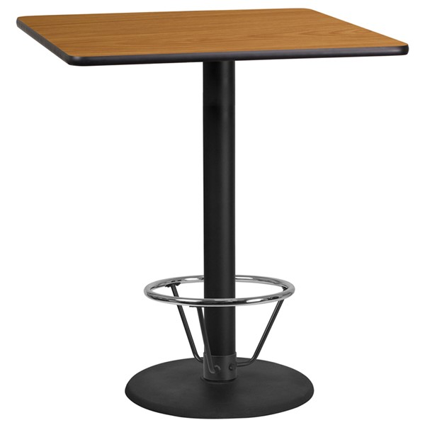 Flash Furniture Natural 36 Square Laminate Round Base Table FLF-XU-NATTB-3636-TR24B-4CFR-GG