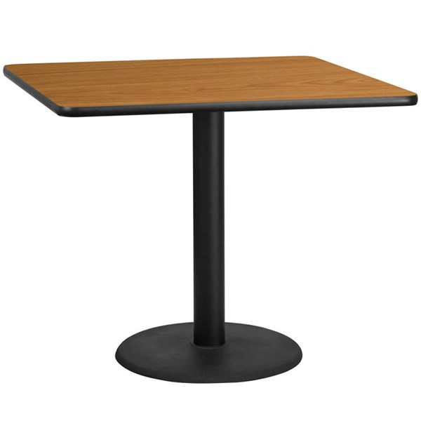 42 Inch Square Natural Table Top W/24 Inch Round Table Height Base FLF-XU-NATTB-4242-TR24-GG