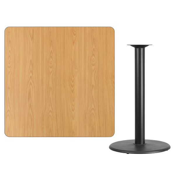 42 Inch Square Natural Table Top W/24 Inch Round Bar Height Base FLF-XU-NATTB-4242-TR24B-GG