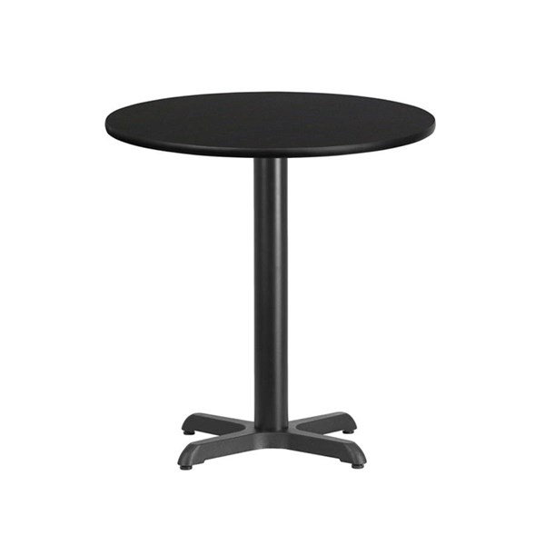 Flash Furniture 24 Inch Round Black Laminate Table Top with 22 X 22 Table Base FLF-XU-RD-24-BLKTB-T2222-GG