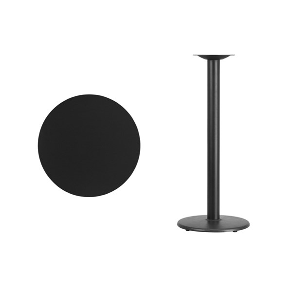 24 Inch Black Laminate Table Top w/18 Inch Round Bar H Table Base FLF-XU-RD-24-BLKTB-TR18B-GG