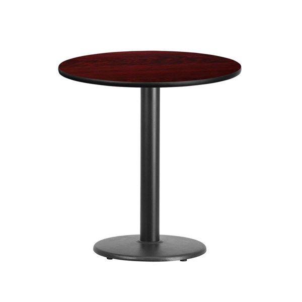 Flash Furniture 24 Inch Round Mahogany Laminate Table Top with 18 Inch Round Table Base FLF-XU-RD-24-MAHTB-TR18-GG
