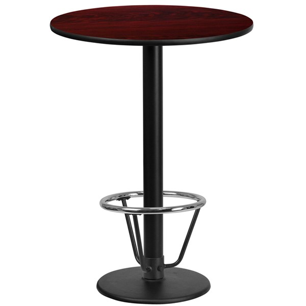 Flash Furniture Mahogany 24 Round Base Laminate Table FLF-XURD24MAHTB-TR18B-3CFRGG