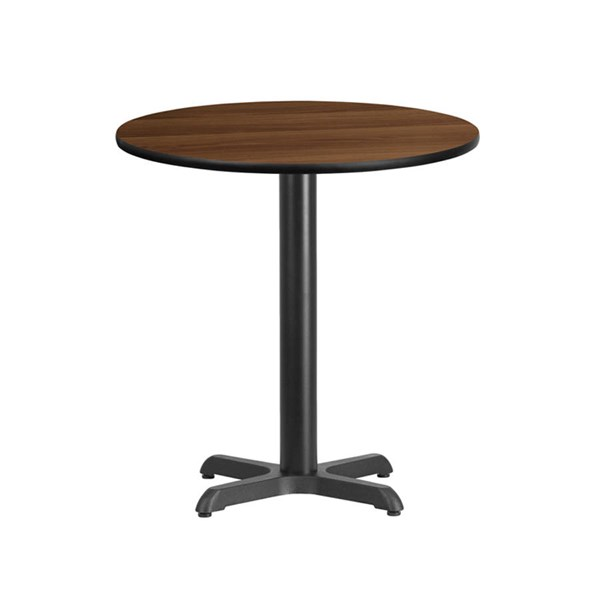 Flash Furniture 24 Inch Round Walnut Laminate Table Top with 22 X 22 Table Base FLF-XU-RD-24-WALTB-T2222-GG