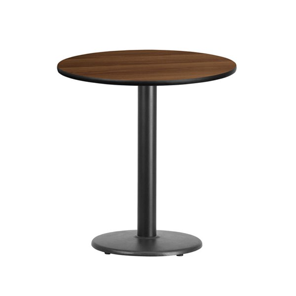 Flash Furniture 24 Inch Round Walnut Laminate Table Top with 18 Inch Round Table Base FLF-XU-RD-24-WALTB-TR18-GG