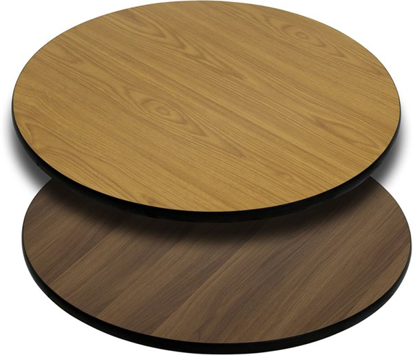 24 Inch Round Table Top W/Natural Or Walnut Reversible Laminate Top FLF-XU-RD-24-WNT-GG