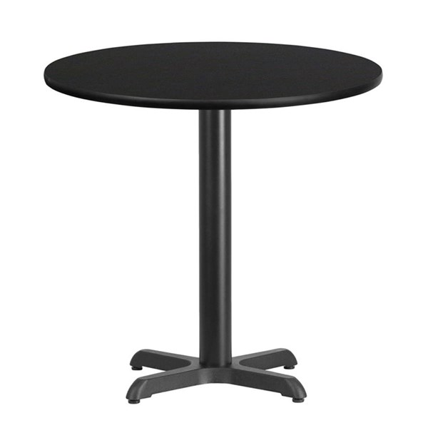30 Inch Round Black Laminate Table Top With 22 X 22 Table Height Base FLF-XU-RD-30-BLKTB-T2222-GG