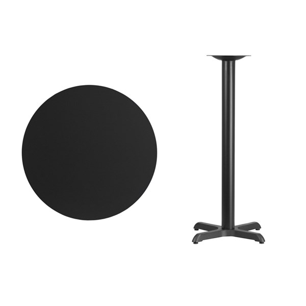 30 Inch Round Black Laminate Table Top w/22 x 22 Bar H Table Base FLF-XU-RD-30-BLKTB-T2222B-GG