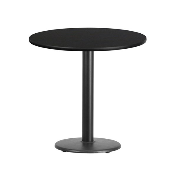 Flash Furniture 30 Inch Round Black Laminate Table Top with Table Height Base FLF-XU-RD-30-BLKTB-TR18-GG