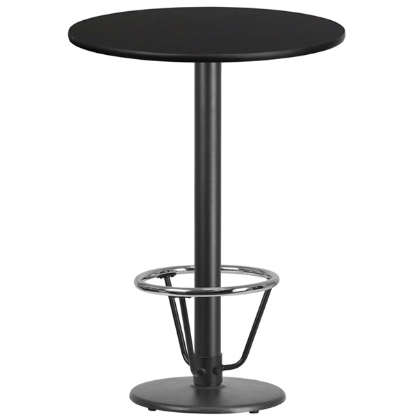 Flash Furniture Black 30 Round Base Laminate Table FLF-XURD30BLKTB-TR18B-3CFRGG