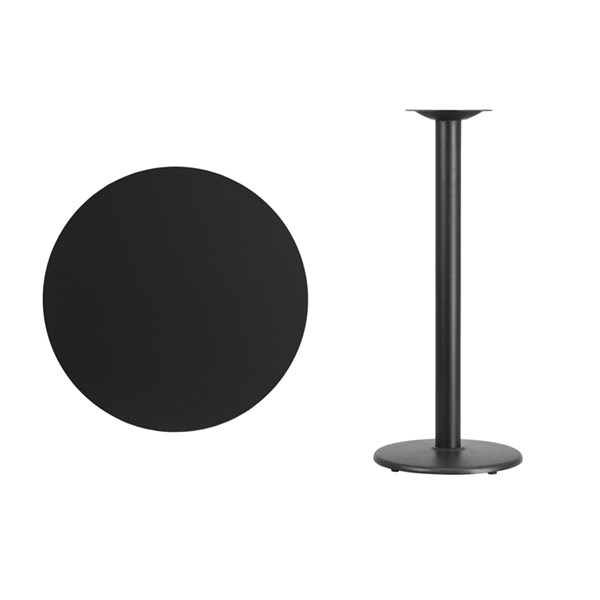 30 Inch Round Laminate Table Top w/18 Inch Round Bar Height Table Base FLF-XU-RD-30-TR18B-GG-BT-VAR