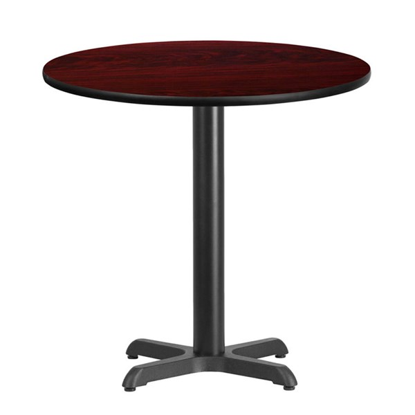 Flash Furniture 30 Inch Round Mahogany Laminate Table Top with 22 X 22 Table Base FLF-XU-RD-30-MAHTB-T2222-GG