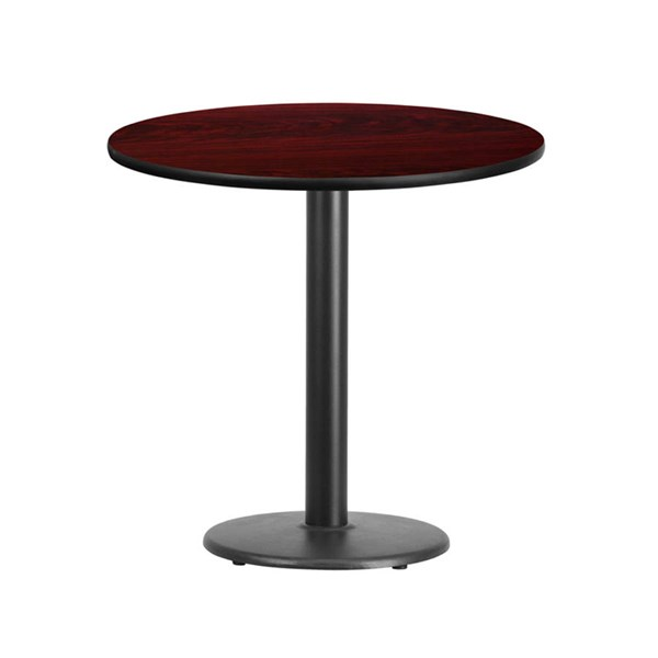 Flash Furniture 30 Inch Round Mahogany Laminate Table Top with Table Height Base FLF-XU-RD-30-MAHTB-TR18-GG