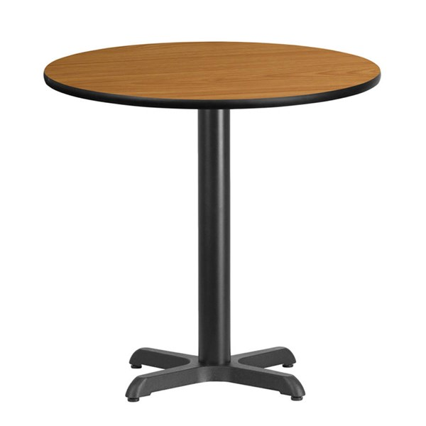 30 Inch Round Natural Laminate Table Top W/22 X 22 Table Height Base FLF-XU-RD-30-NATTB-T2222-GG