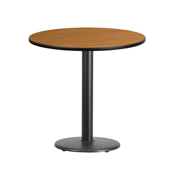 Flash Furniture 30 Inch Round Natural Laminate Table Top with Table Height Base FLF-XU-RD-30-NATTB-TR18-GG