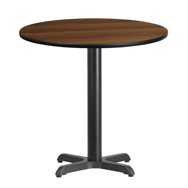 Flash Furniture 30 Inch Round Walnut Laminate Table Top with 22 X 22 Table Base FLF-XU-RD-30-WALTB-T2222-GG