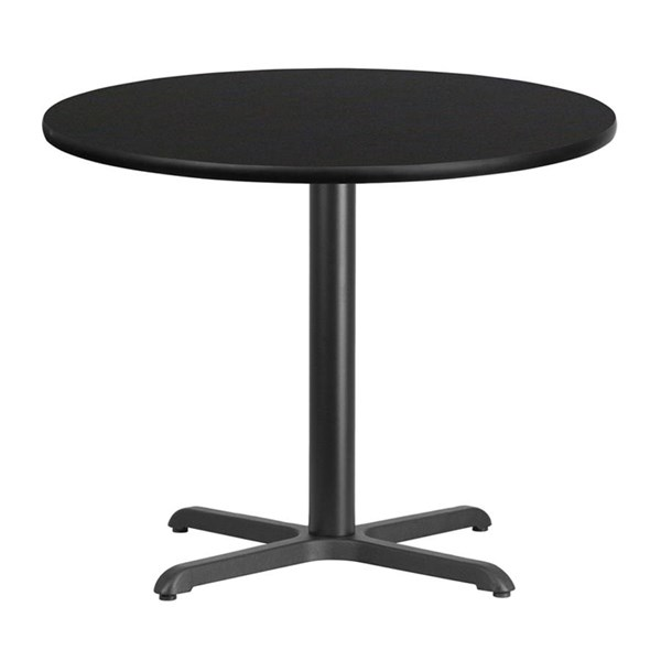 Flash Furniture 36 Inch Round Black Laminate Table Top with Table Height Base FLF-XU-RD-36-BLKTB-T3030-GG