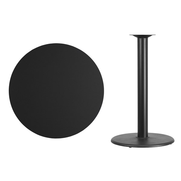 36 Inch Black Laminate Table Top w/24 Inch Round Bar Height Table Base FLF-XU-RD-36-BLKTB-TR24B-GG