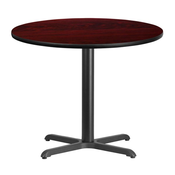 Flash Furniture 36 Inch Round Mahogany Laminate Table Top with Table Height Base FLF-XU-RD-36-MAHTB-T3030-GG