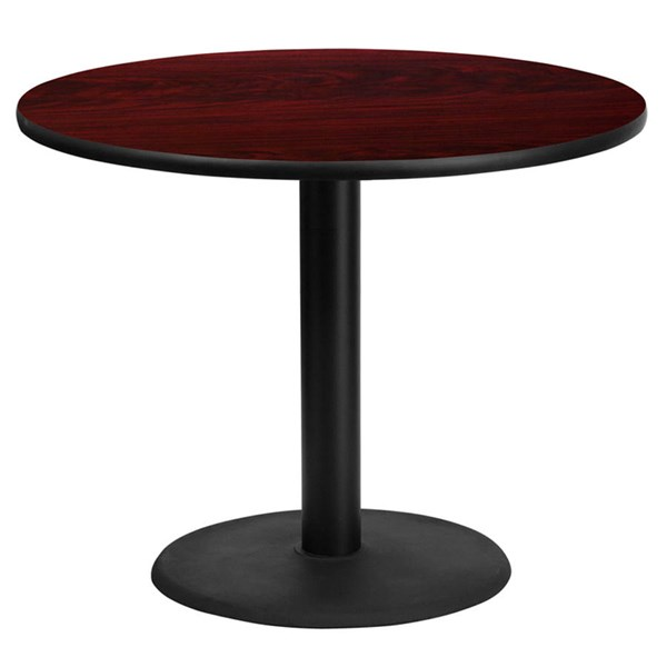 36 Inch Round Mahogany Laminate Table Top w/24 Inch Round Table H Base FLF-XU-RD-36-MAHTB-TR24-GG