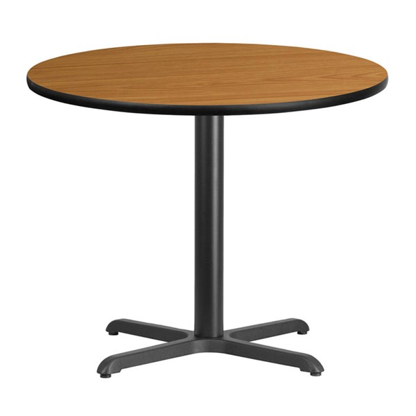 36 Inch Round Natural Laminate Table Top w/30 x 30 Table Height Base FLF-XU-RD-36-NATTB-T3030-GG