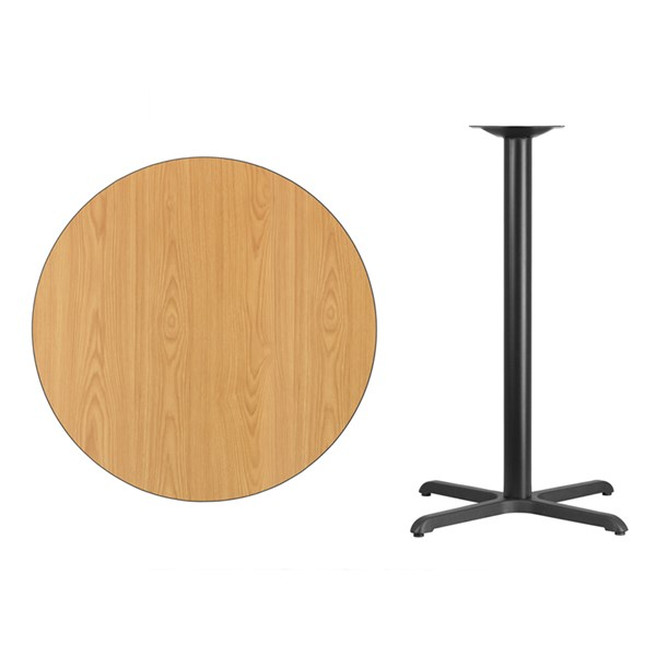 36 Inch Round Natural Laminate Table Top W/30x30 Bar Table Base FLF-XU-RD-36-NATTB-T3030B-GG