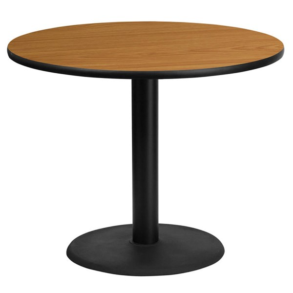 36 Inch Round Natural Laminate Table Top w/24 Inch Round Table H Base FLF-XU-RD-36-NATTB-TR24-GG