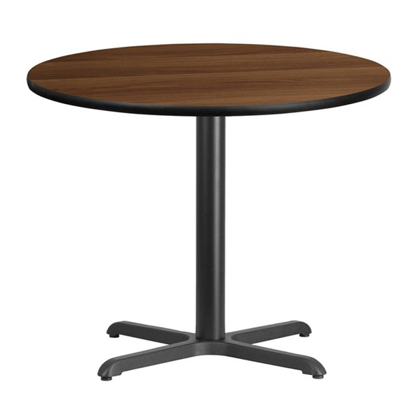 Flash Furniture 36 Inch Round Walnut Laminate Table Top with Table Height Base FLF-XU-RD-36-WALTB-T3030-GG