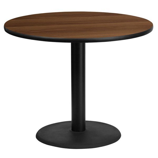 36 Inch Round Walnut Laminate Table Top w/24 Inch Round Table H Base FLF-XU-RD-36-WALTB-TR24-GG
