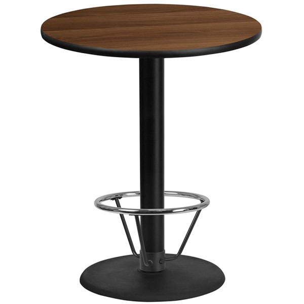 Flash Furniture Walnut 36 Round Base Laminate Table FLF-XURD36WALTB-TR24B4CFRGG