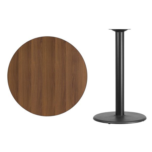 36 Inch Walnut Table Top w/24 Inch Round Bar Height Table Base FLF-XU-RD-36-WALTB-TR24B-GG