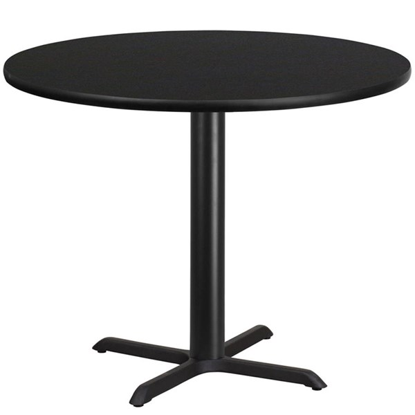 42 Inch Round Black Laminate Table Top W/33 X 33 Table Height Base FLF-XU-RD-42-BLKTB-T3333-GG
