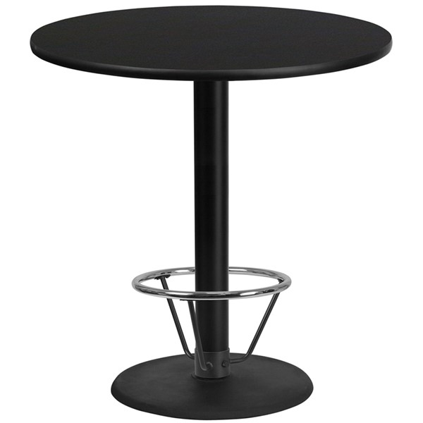 Flash Furniture 42 Round Base Laminate Table FLF-XU-RD-42-TR24B-4CFR-GG-DT-VAR