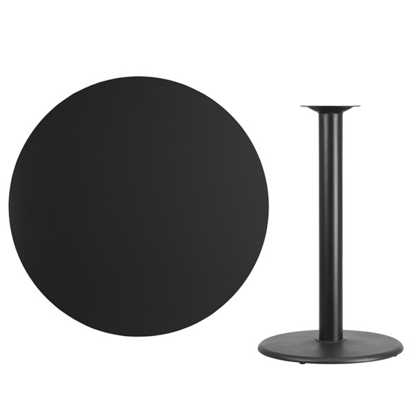 42 Inch Round Laminate Table Top w/24 Inch Round Bar Height Table Base FLF-XU-RD-42-TR24B-GG-BT-VAR